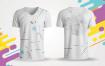 白色现代创意T恤素材样机模板展示素材White Modern Creative T shirt Designs Printable