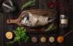 美食餐饮品牌VIS视觉识别系统料理三文鱼素材下载Kitchen Ready Mockup Vol. 1