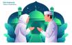 创意扁平创意插画设计素材下载Eid Mubarak Vector Illustration