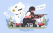 战场游戏创意场景插画素材下载Battleground Game Vector Illustration
