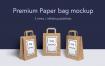 牛皮纸购物手提袋样机素材模板展示效果Premium Paper Bag Mockup