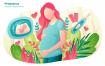 母婴孕育生命创意插画卡通素材下载Pregnancy  Vector Illustration