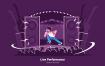 嗨歌音乐厅场景插画素材下载Live Performance Vector Illustration