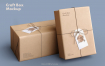 牛皮纸包装个性包装智能贴图样机展示Craft Paper Giftbox Mockup 3180353