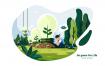 绿色生活场景插画素材下载Go green For Life Vector Illustration