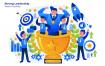 团队协作领导办公场景插画素材模板下载Strong Leadership Vector Illustration