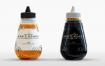 蜂蜜玻璃瓶样机素材模板展示Plastic Honey Bottle Mock-Up Template