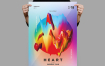创意色彩纹理传单/海报模板Heart Flyer Poster Template