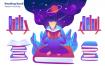 学习阅读场景插画素材下载Reading Book Vector Illustration