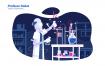 机器人实验室场景插画素材下载Profesor Robot Vector Illustration