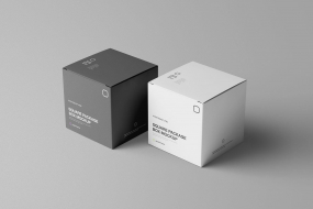 包装盒设计PSD智能贴图Square Package Box Mockup