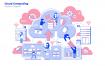 云彩计算场景插画素材下载Cloud Computing Vector Illustration