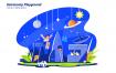 天文游乐场场景插画素材下载Astronomy Playground Vector Illustration