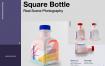 写实方形塑料瓶样机素材模板展示效果图Square Plastic Bottle
