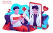 在线医生医疗在线诊断场景插画卡通素材下载Online Doctor Vector Illustration