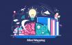 思维导图场景插画素材下载Mind Mapping Vector Illustration