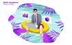 游泳池办公数据图表创意场景插画下载Work Anywhere Vector Illustration