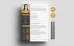 经典配色简历模板展示Modern Resume Template 3 Pages (1)