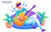 音乐排队插画设计素材下载Playing Guitar – Vector Illustration