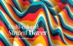 多彩色条纹波背景Multi colored Striped Waves Backgrounds