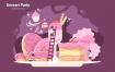 甜点派对场景创意插画素材下载Dessert Party Vector Illustration
