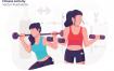 健身杠铃场景创意插画素材下载Fitness Activity Vector Illustration
