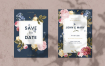 花卉婚礼邀请卡模板Floral Wedding Invitation Card Template 7AG7
