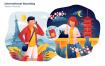 国际漫游通话互联场景插画素材下载International Roaming Vector Illustration