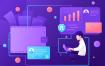 加密货币 场景插画素材模板素材Cryptocurrency Vector Illustration