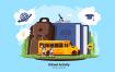 幼儿园上学场景创意插画素材下载School Activity Vector Illustration