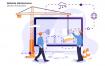 网站维护创意场景插画素材模板展示Website Maintenance Vector Illustration