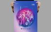 渐变油彩绘画风波浪传单/海报模板Waves Flyer / Poster Template