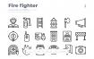 30消防队员元素线性图标源文件下载30 Fire fighter Icons Outliner