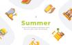 30个夏季元素扁平化描边风图标源文件下载30 Summer Icons Flat