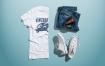 精致斜杠青年服装品牌样机素材下载 Crew Neck T shirt Mockup Male Version Bzupze