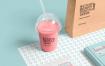 优雅配色透明塑料杯场景展示样机 Transparent Plastic Cup Mockup