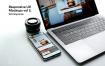 苹果电脑macbook iphonex手机办公场景样机素材模板展示Responsive Mockup Macbook Touch Bar iPhone X Vol 2