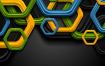 五颜六色的抽象技术六角形公司背景Colorful abstract tech hexagons background
