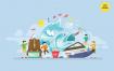 钓鱼之旅矢量概念创意插画素材下载Fishing Trip Vector Concept Illustration
