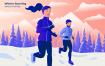 冬季跑步创意插画素材Winter Running Vector Illustration