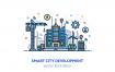 描边风场景插画素材下载Smart city development illustration