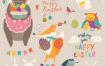 复活节动物漫画人物Animals celebrating Easter Vector set of cartoon
