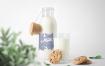牛奶玻璃瓶装样机模板素材展示样机Milk Bottles Mockups