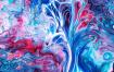 液体大理石花纹绘画背景Liquid Marbling Painting Background