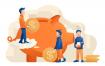 存钱储蓄罐金币素材下载Saving Money Vector Illustration