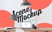 工作区桌面模拟与 Workspace desk Mock Up with macbook