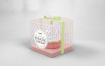 透明包装甜品蛋糕包装样机包装盒Clear Cupcake Box Packaging Mockup