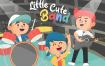 小可爱乐队演奏场景素材插画下载Little Cute Band Vector Illustration
