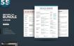 极致简约设计风格简历模板展示样机Resume CV Bundle 1537275