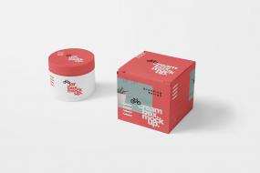 奶油罐和盒子样机模板展示样机Cream Jar Box Mockups